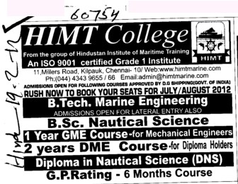 BTech,BSc N and Diploma in Nautical Science etc (HIMT College)