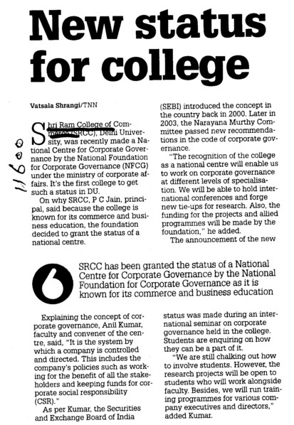 New status for college (Shri Ram College of Commerce)