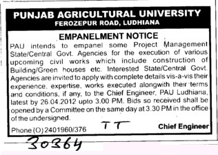 Construction of Building and Green Housess (Punjab Agricultural University PAU)