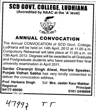 Annual Comvocation be held on 14th April 2012 (SCD Govt College)