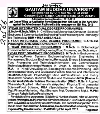 BTech,MTech and MBA Courses etc (Gautam Buddha University (GBU))