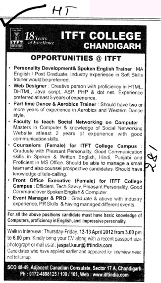 Web Designer,Counselors and Aerobics Trainer etc (ITFT-Institute of Tourism and Future Management Trends)
