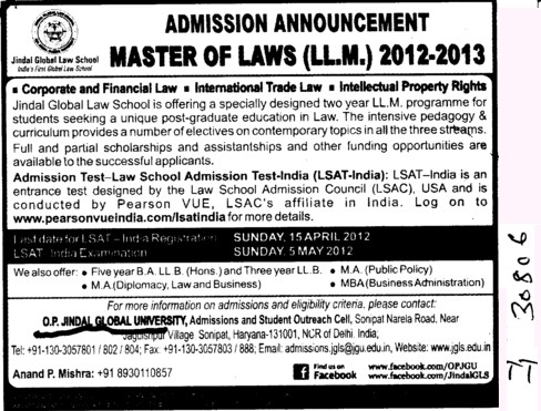 Master of Law 2012 2013 (Jindal Global Law School (JGLS))