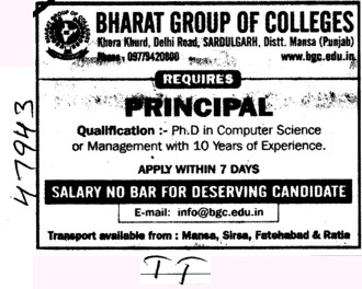 Principal on regular basis (Bharat Group of Institutions)