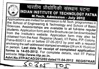 MTech Programmes 2012 (Indian Institute of Technology IIT)