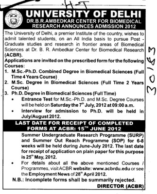 MSc and PhD Combined Degree in Biomedical Sciences (Delhi University)