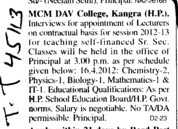 Lecturers on Contractual basis (MCM DAV College)