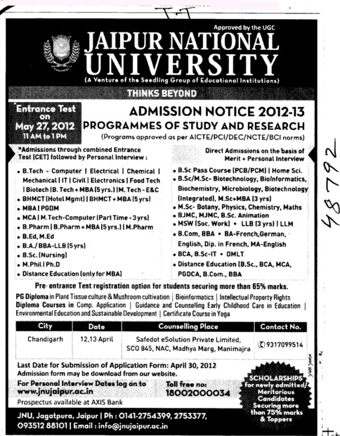 BTech,BA,BSc and MEd Courses etc (Jaipur National University)