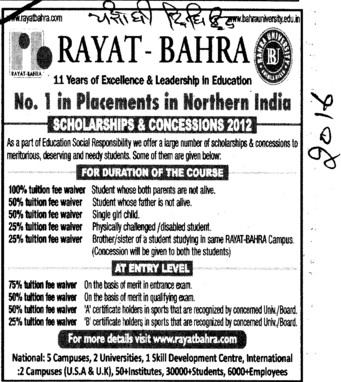Scholarships and Concession 2012 (Rayat and Bahra Group)