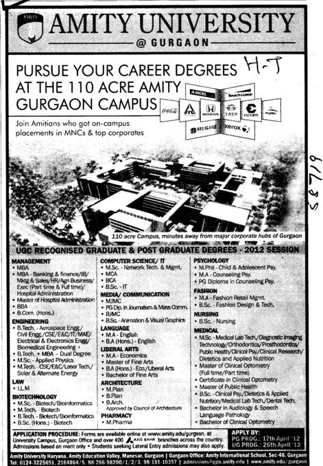 BBA,BSc,MSc,MCA and LLM Courses etc (Amity University Manesar)