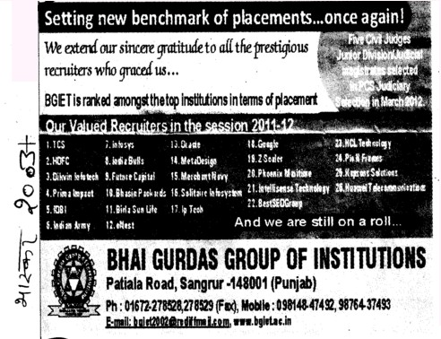 Setting new benchmark of placements once again (Bhai Gurdas Group of Institutions)