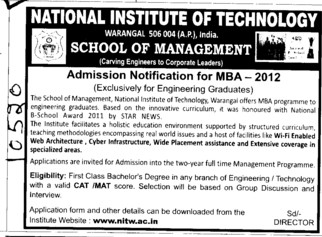MBA Course 2012 (National Institute of Technology NIT)