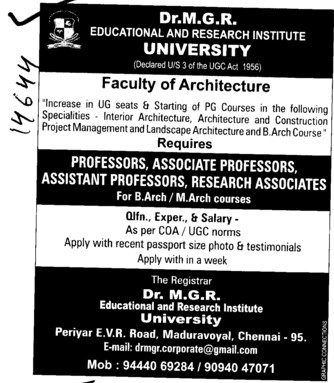 Professor,Asstt Professor in mining Engineering and Geology etc (Dr MGR Educational and Research Institute University)