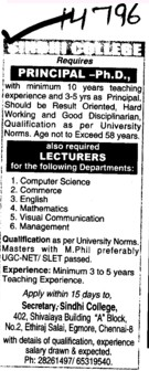Principal and Lecturers (Sindhi College of Arts and Science)