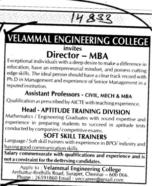 Director and Asstt Professor (Velammal Engineering College)