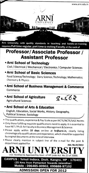 Professor,Asstt Professor in mining Engineering and Geology etc (Arni University Kathgarh)