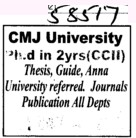 Two years PhD Course (Chander Mohan Jha (CMJ) University)