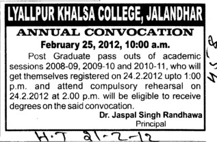 Annual Convocation 2012 (Lyallpur Khalsa College of Boys)