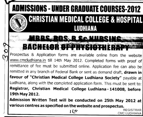 MBBS,BDS,BSc Nursing and Bachelor of Physiotherapy Courses (Christian Medical College and Hospital (CMC))