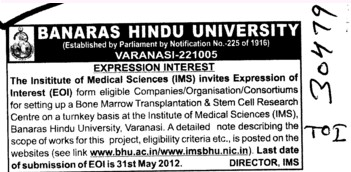 Consortiums for setting up a Bone Marrow Transplanation etc (Banaras Hindu University)