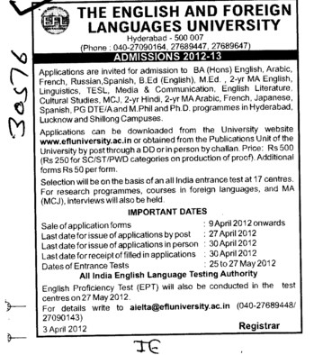 BA,BEd and MEd Courses etc (English and Foreign Languages University)
