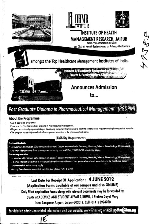 Post Graduate Diploma in Pharmaceutical Management (Indian Institute of Health Management Research (Society))