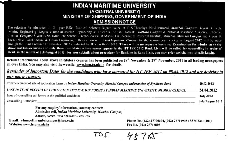 Three years BSc in Nautical Science Course (Indian Maritime University)