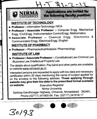 Professor,Asstt Professor and Associate Professor etc (Nirma University)