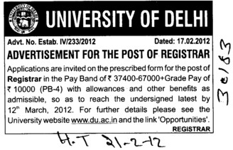 Registrar on regular basis (Delhi University)