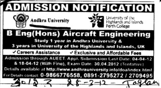 Aircraft Engineering course (Andhra University)