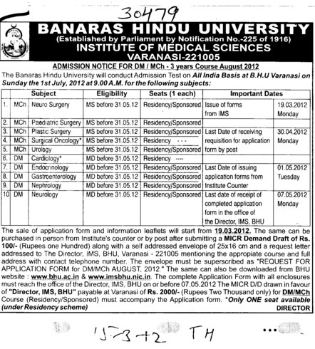 MCh in Urology and Plastic Surgery etc (Banaras Hindu University)