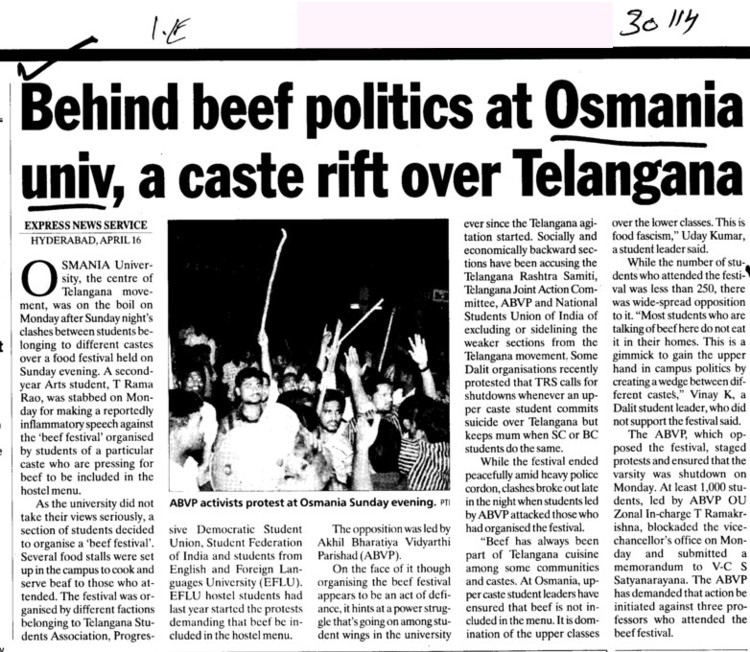 Behind beef politics at Osmania Univ a caste rift over Telangana (Osmania University)
