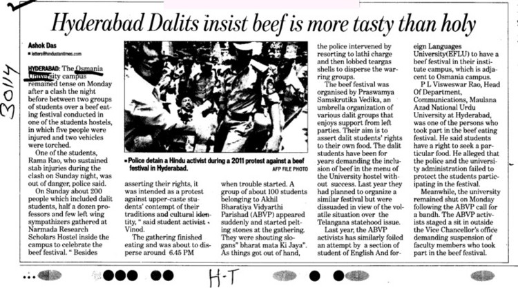 Hyderabad dalits insist beef is more tasty than holy (Osmania University)