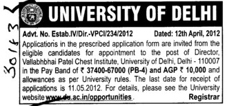 Director on regular basis (Delhi University)