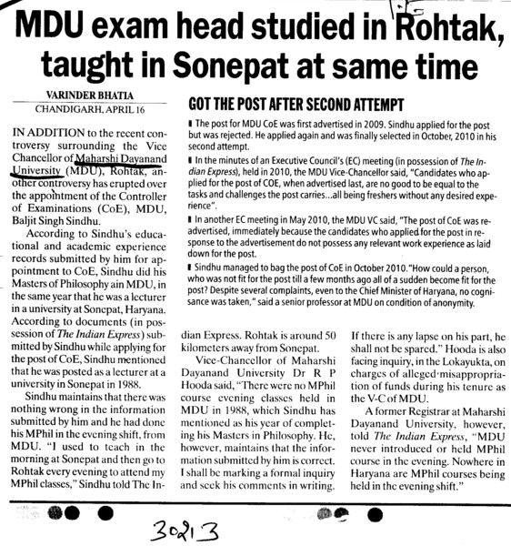 MDU exam head studied in Rohtak,taught in Sonepat at same time (Maharshi Dayanand University)