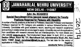 Professor,Asstt Professor and Associate Professor etc (Jawaharlal Nehru University)