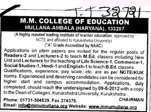 Reader and Lecturer for MEd Classes (MM College of Education (MMCE))