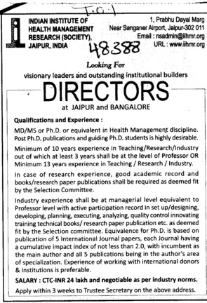 Director with 13 years Experience (Indian Institute of Health Management Research (Society))