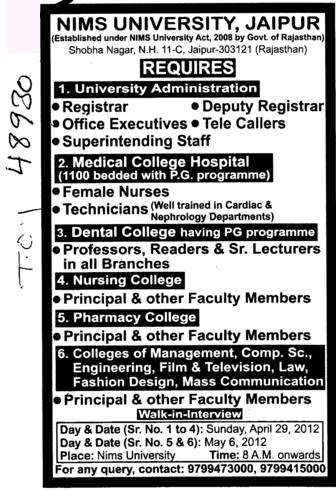 Registrar,Deputy Registrar,Professor,Reader and other Faculty members etc (NIMS University)