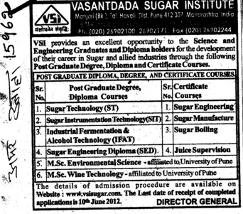 Post Graduate Degree,Diploma and Certificate Courses (Vasantdada Sugar Institute (VSI))