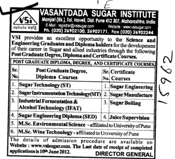 Postgraduate Degree and Diploma Courses (Vasantdada Sugar Institute (VSI))