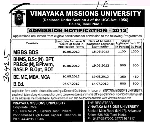 MBBS,BDS,MBA and MCA Courses etc (Vinayaka Missions University)