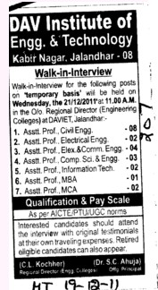 Asstt Professor for BTech Course (DAV Institute of Engineering and Technology DAVIET)