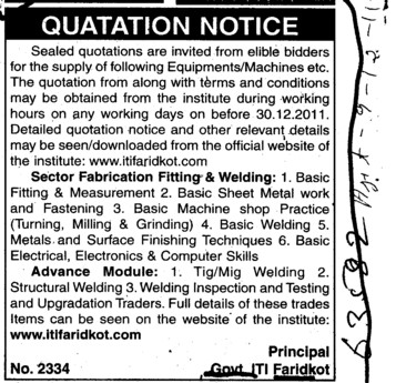 Supply of various types of Equipments (Industrial Training Institute (ITI))