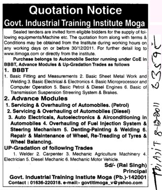 Basic Sheet Metal work and Basic Fitting and Measurements etc (Industrial Training Institute (ITI))