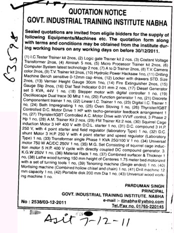 Logic gate Trainer and Micro Processor Trainer etc (Industrial Training Institute (ITI))