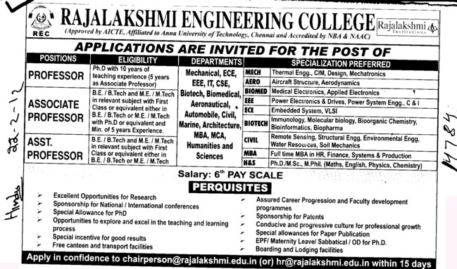 Professor,Associate Professor and Assistant Professor (Rajalakshmi Engineering College)