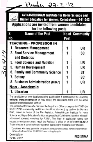 Professor in Botany,Human Development and Business Administration etc (Avinashilingam University)