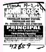 Principal PhD with Experience (John Bosco Arts and Science College)