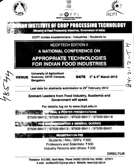 A National Conference on Appropriate Technologies (Indian Institute of Crop Processing Technology (IICPT))